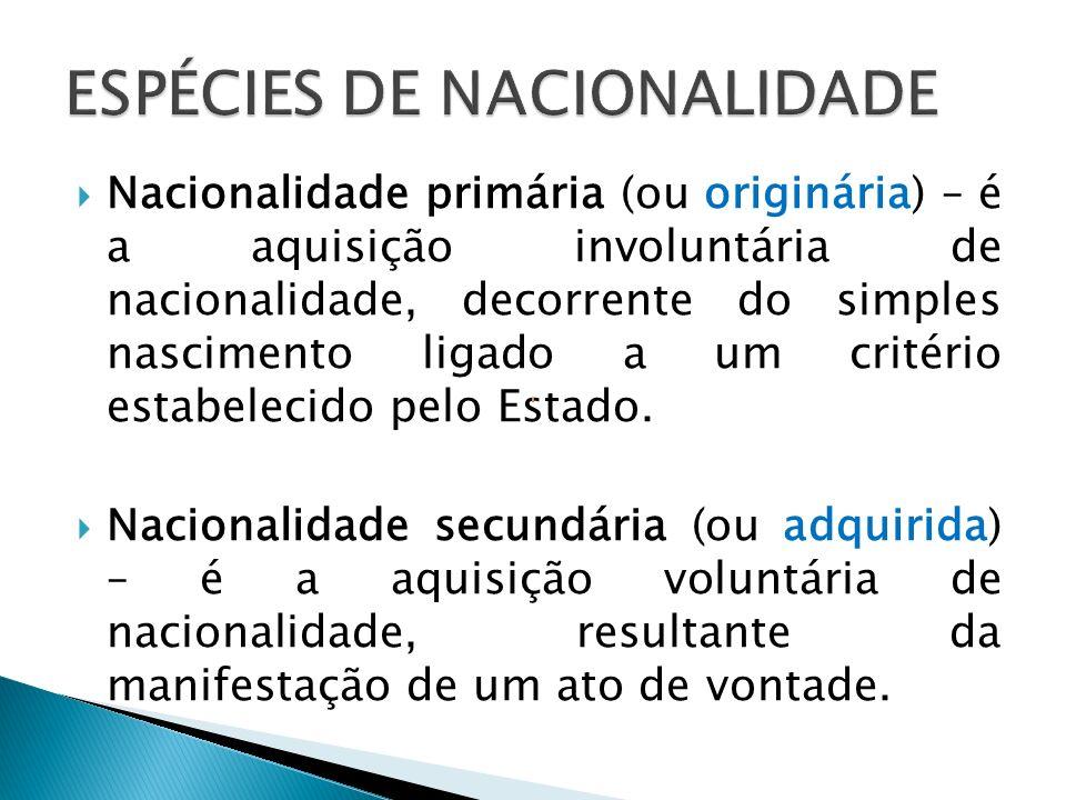 ESPÉCIES DE NACIONALIDADE