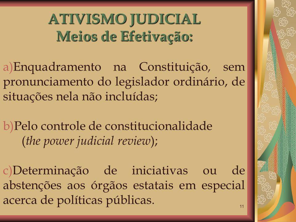 ATIVISMO JUDICIAL Meios de Efetivação: