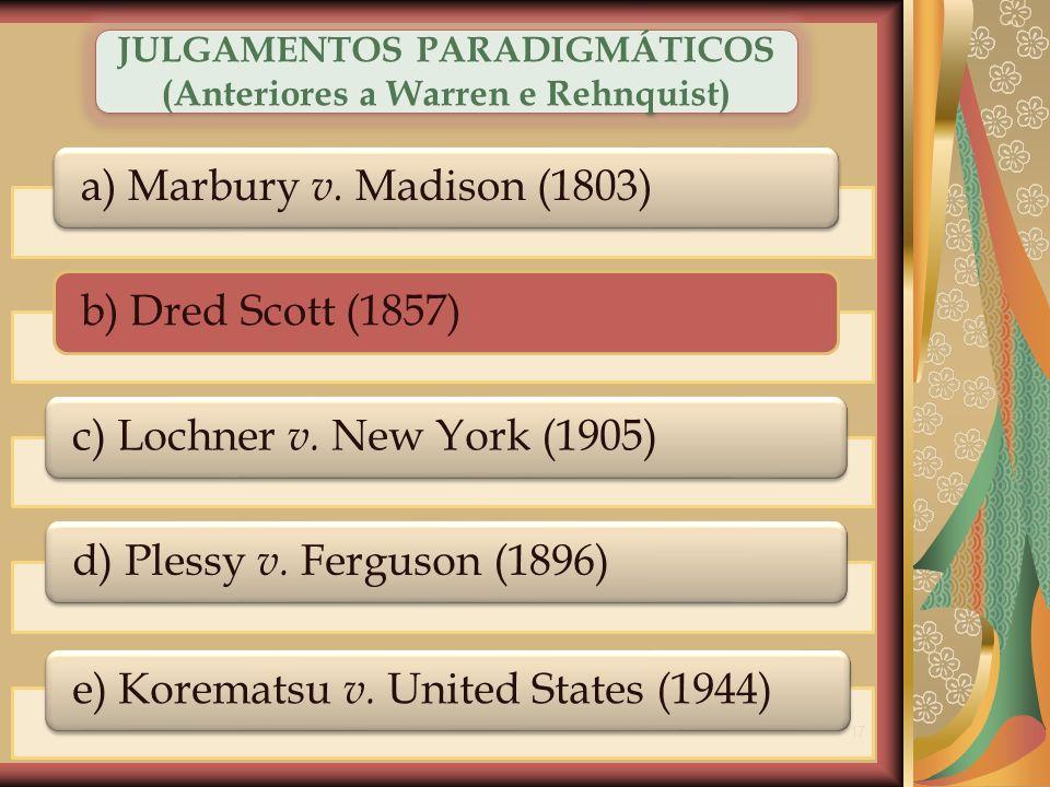 JULGAMENTOS PARADIGMÁTICOS (Anteriores a Warren e Rehnquist)