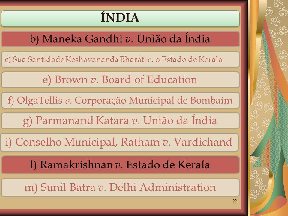 ÍNDIA b) Maneka Gandhi v. União da Índia