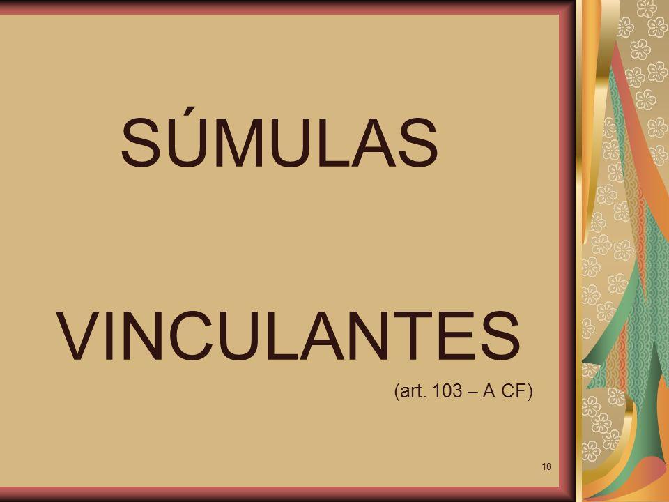 SÚMULAS VINCULANTES (art. 103 – A CF)
