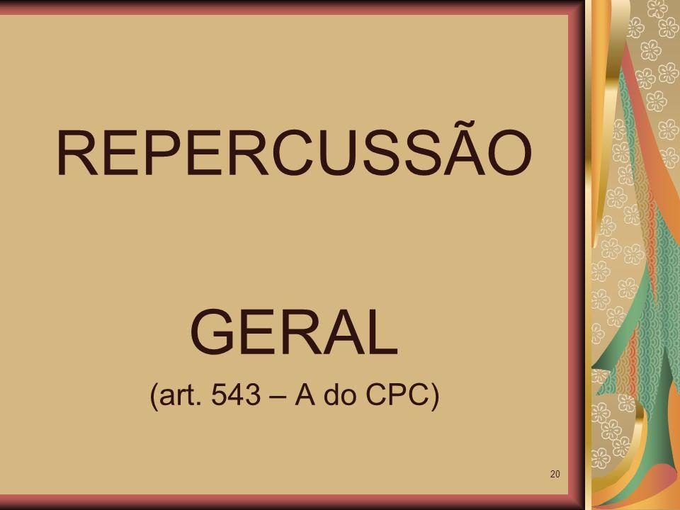 REPERCUSSÃO GERAL (art. 543 – A do CPC)