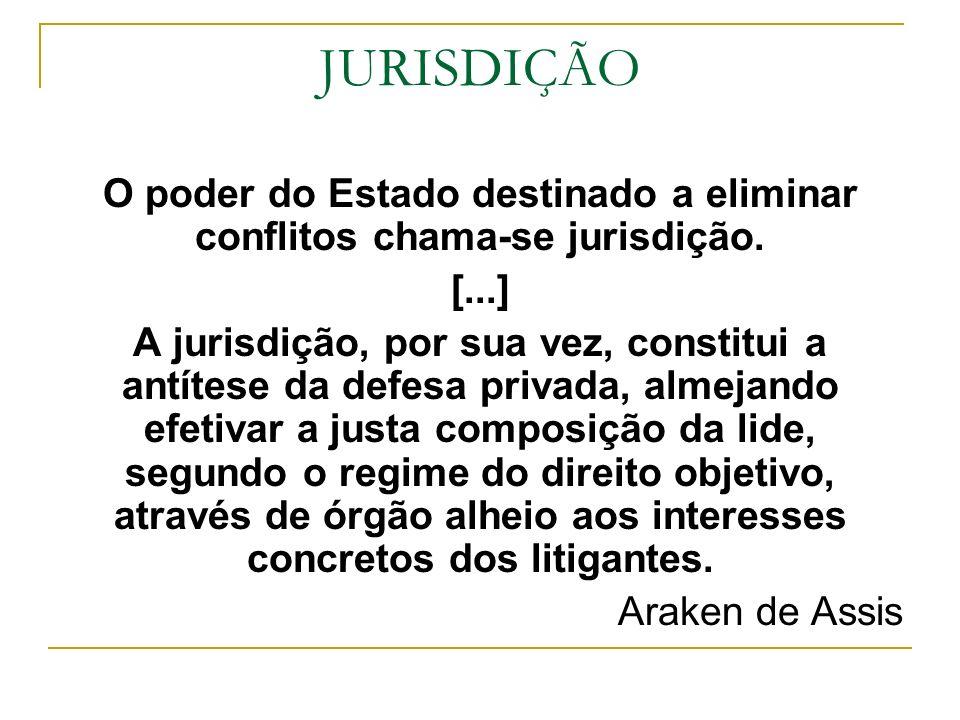 O poder do Estado destinado a eliminar conflitos chama-se jurisdição.