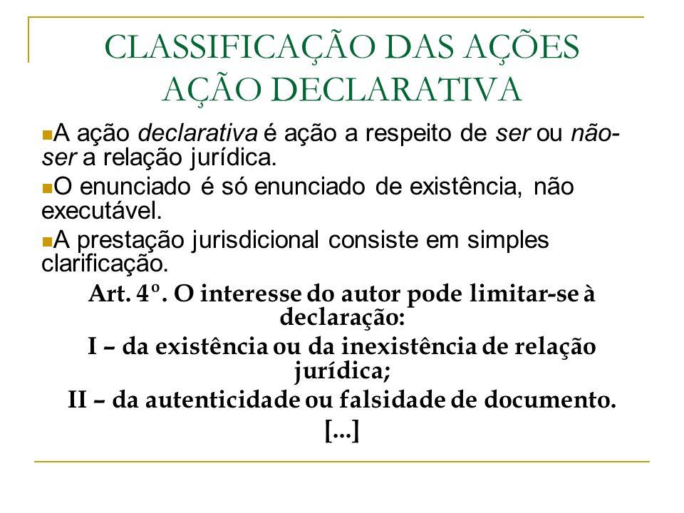 CLASSIFICAÇÃO DAS AÇÕES AÇÃO DECLARATIVA