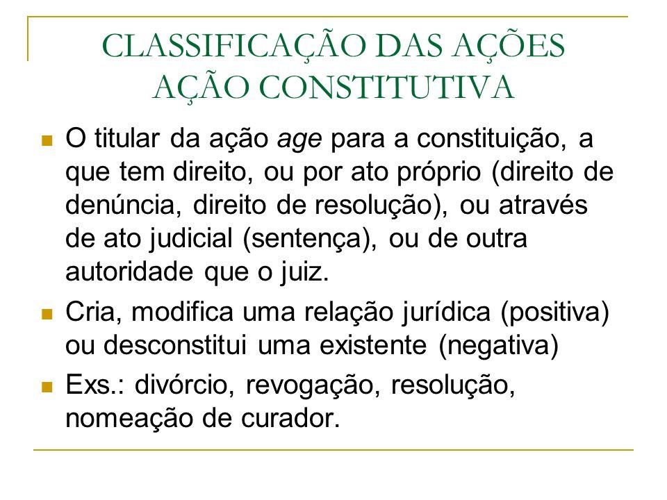 CLASSIFICAÇÃO DAS AÇÕES AÇÃO CONSTITUTIVA