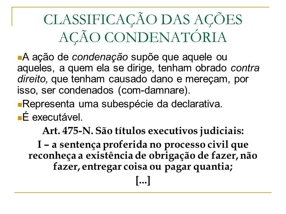 CLASSIFICAÇÃO DAS AÇÕES AÇÃO CONDENATÓRIA