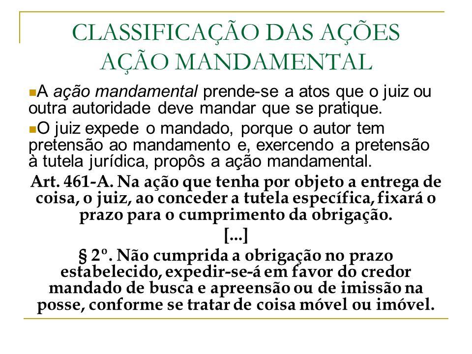 CLASSIFICAÇÃO DAS AÇÕES AÇÃO MANDAMENTAL