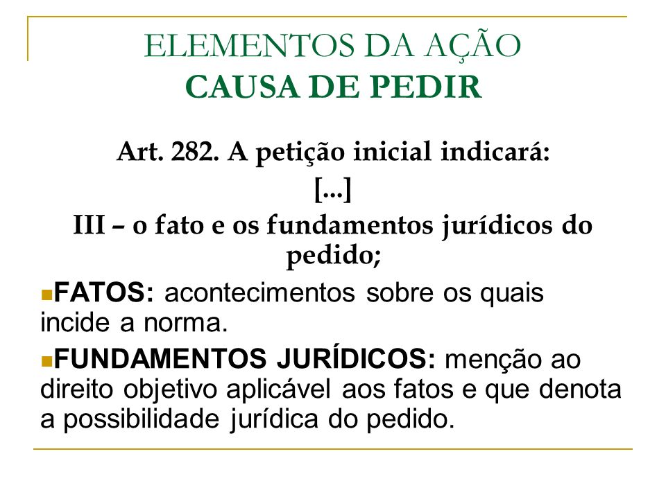 ELEMENTOS DA AÇÃO CAUSA DE PEDIR