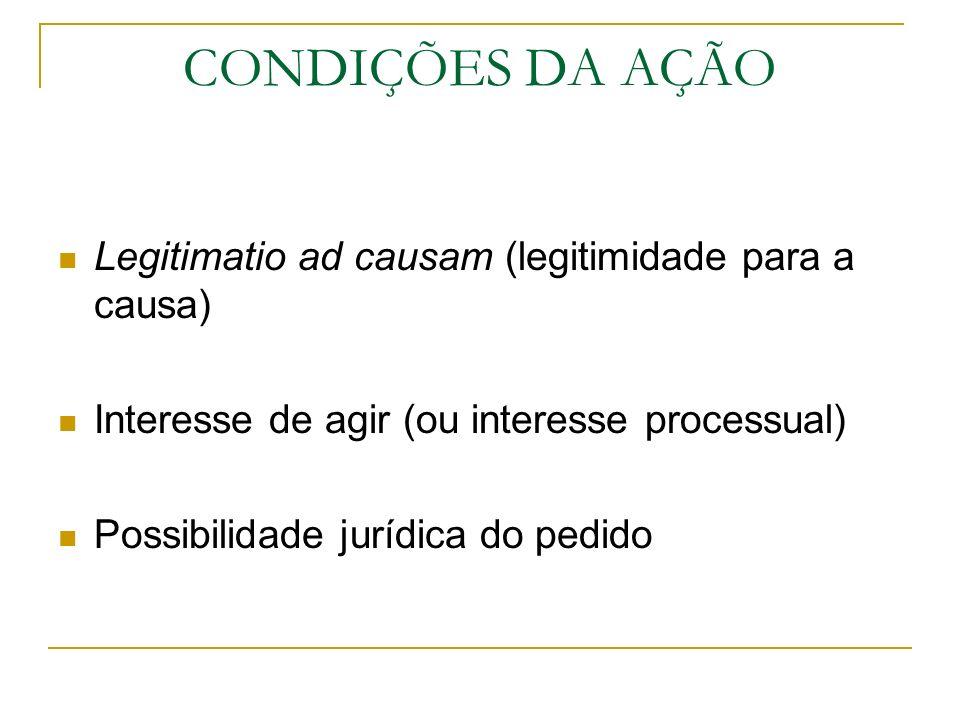 CONDIÇÕES DA AÇÃO Legitimatio ad causam (legitimidade para a causa)