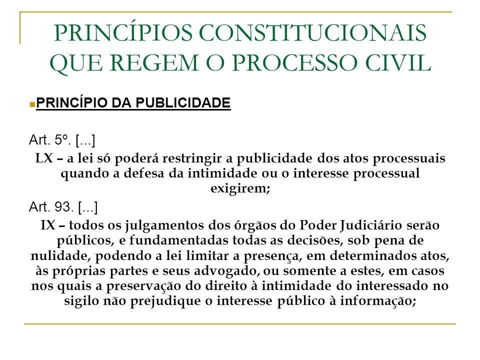 PRINCÍPIOS CONSTITUCIONAIS QUE REGEM O PROCESSO CIVIL
