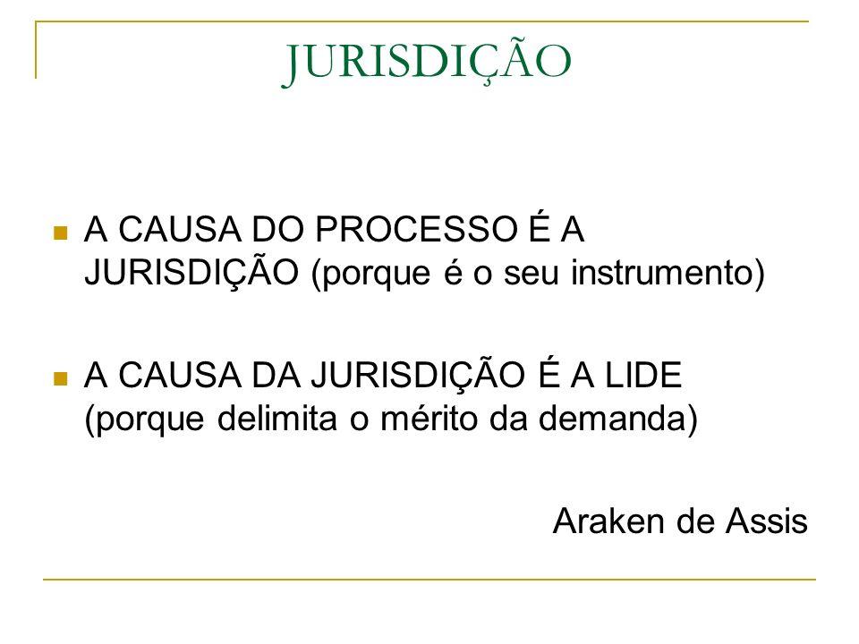 JURISDIÇÃO A CAUSA DO PROCESSO É A JURISDIÇÃO (porque é o seu instrumento) A CAUSA DA JURISDIÇÃO É A LIDE (porque delimita o mérito da demanda)
