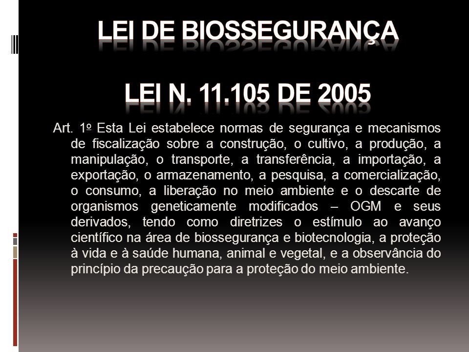 LEI DE BIOSSEGURANÇA LEI N. 11.105 DE 2005