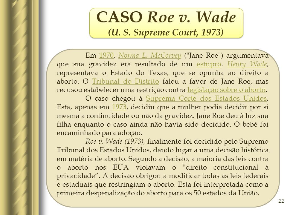 CASO Roe v. Wade (U. S. Supreme Court, 1973)
