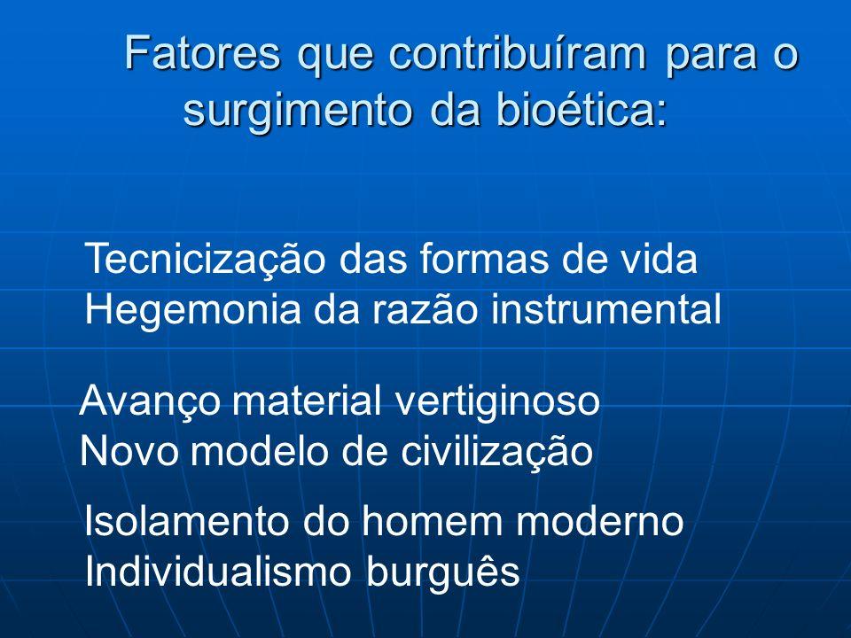 Fatores que contribuíram para o surgimento da bioética: