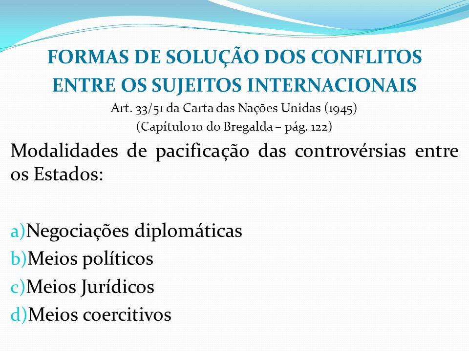FORMAS DE SOLUÇÃO DOS CONFLITOS ENTRE OS SUJEITOS INTERNACIONAIS