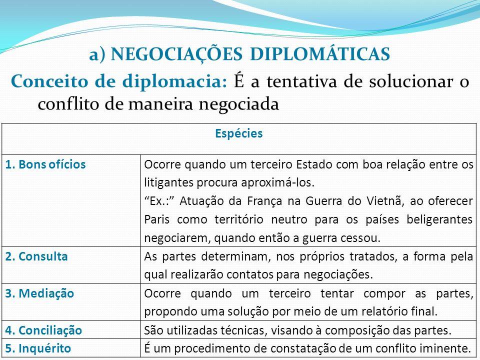 a) NEGOCIAÇÕES DIPLOMÁTICAS Conceito de diplomacia: É a tentativa de solucionar o conflito de maneira negociada