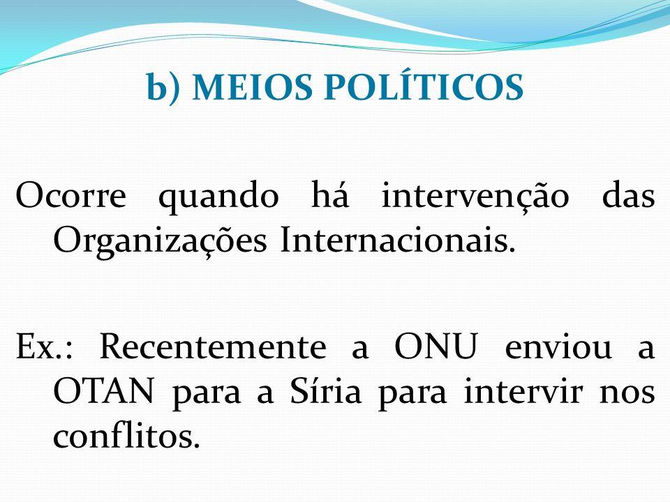 b) MEIOS POLÍTICOS Ocorre quando há intervenção das Organizações Internacionais.