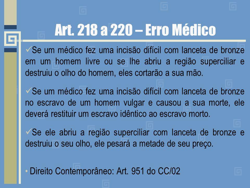 Art. 218 a 220 – Erro Médico