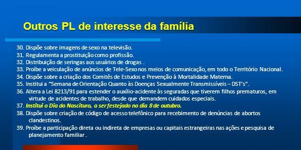 Outros PL de interesse da família