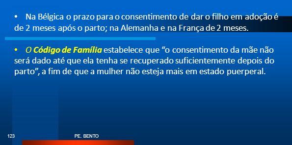 Na Bélgica o prazo para o consentimento de dar o filho em adoção é de 2 meses após o parto; na Alemanha e na França de 2 meses.