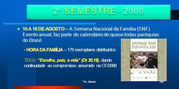 2º SEMESTRE - 200810 A 16 DE AGOSTO – A Semana Nacional da Família (SNF). Evento anual, faz parte do calendário de quase todas paróquias do Brasil.