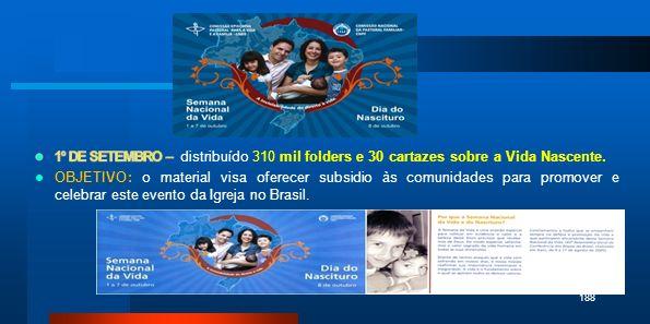 1º DE SETEMBRO – distribuído 310 mil folders e 30 cartazes sobre a Vida Nascente.