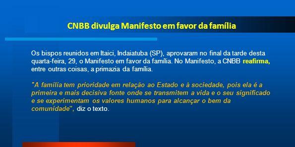 CNBB divulga Manifesto em favor da família