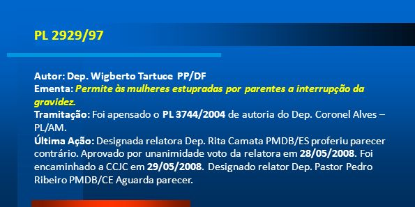 PL 2929/97 Autor: Dep. Wigberto Tartuce PP/DF