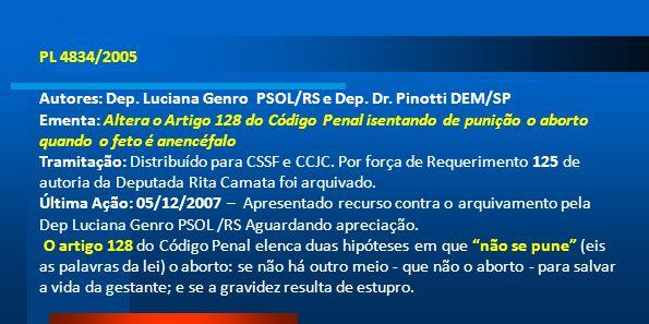 PL 4834/2005Autores: Dep. Luciana Genro PSOL/RS e Dep. Dr. Pinotti DEM/SP.