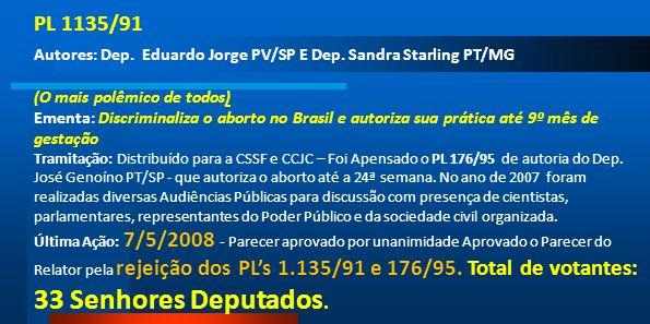 PL 1135/91Autores: Dep. Eduardo Jorge PV/SP E Dep. Sandra Starling PT/MG. (O mais polêmico de todos)