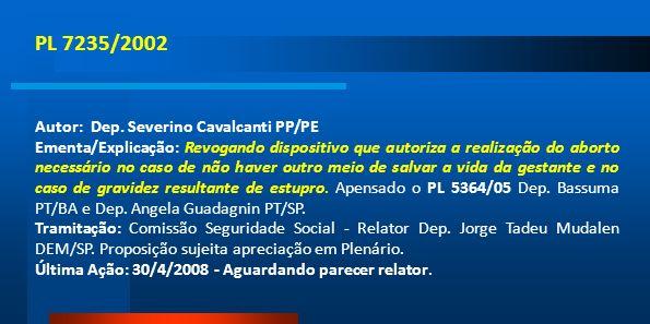 PL 7235/2002 Autor: Dep. Severino Cavalcanti PP/PE
