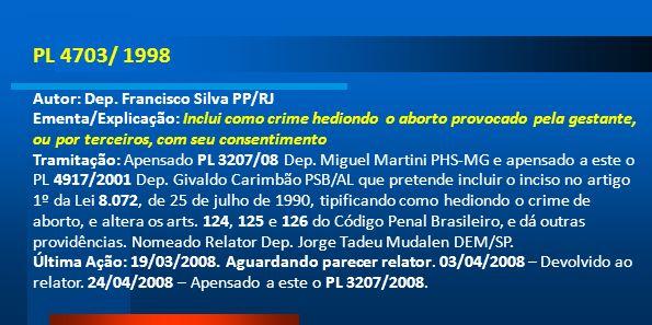 PL 4703/ 1998 Autor: Dep. Francisco Silva PP/RJ