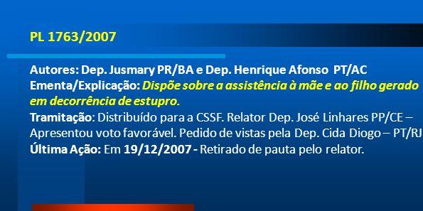 PL 1763/2007 Autores: Dep. Jusmary PR/BA e Dep. Henrique Afonso PT/AC