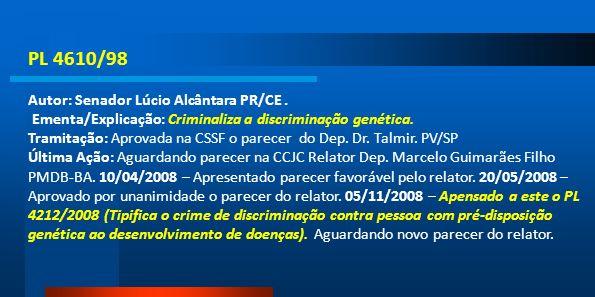 PL 4610/98 Autor: Senador Lúcio Alcântara PR/CE .