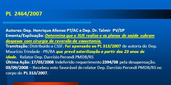 PL 2464/2007Autores: Dep. Henrique Afonso PT/AC e Dep. Dr. Talmir PV/SP.