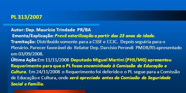 PL 313/2007 Autor: Dep. Maurício Trindade PR/BA