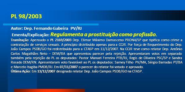PL 98/2003 Autor: Dep. Fernando Gabeira PV/RJ
