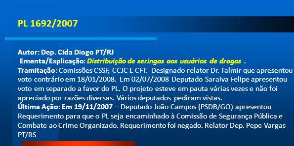 PL 1692/2007 Autor: Dep. Cida Diogo PT/RJ