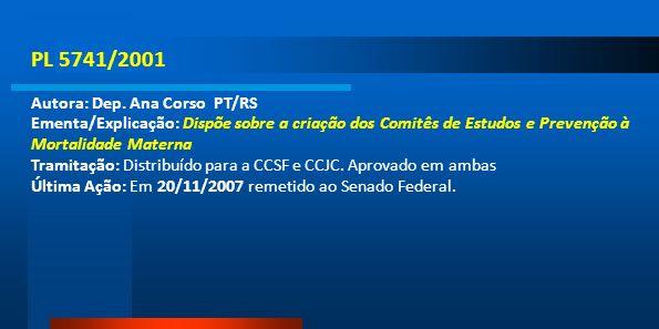 PL 5741/2001 Autora: Dep. Ana Corso PT/RS