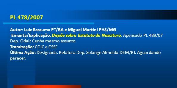 PL 478/2007 Autor: Luiz Bassuma PT/BA e Miguel Martini PHS/MG