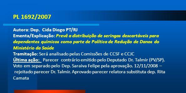 PL 1692/2007 Autora: Dep. Cida Diogo PT/RJ