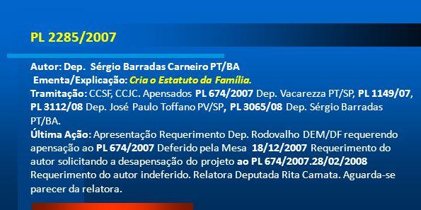 PL 2285/2007 Autor: Dep. Sérgio Barradas Carneiro PT/BA