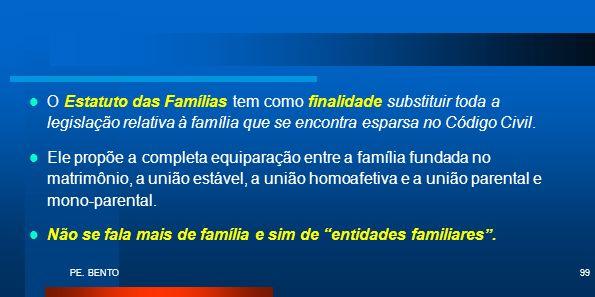 Não se fala mais de família e sim de entidades familiares .