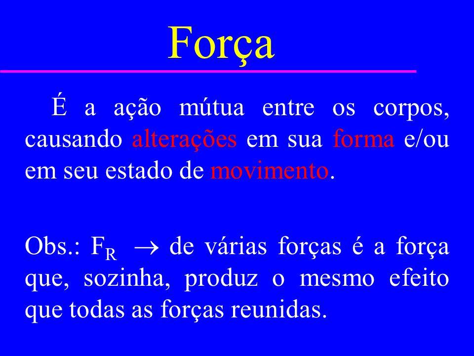 Força É a ação mútua entre os corpos, causando alterações em sua forma e/ou em seu estado de movimento.
