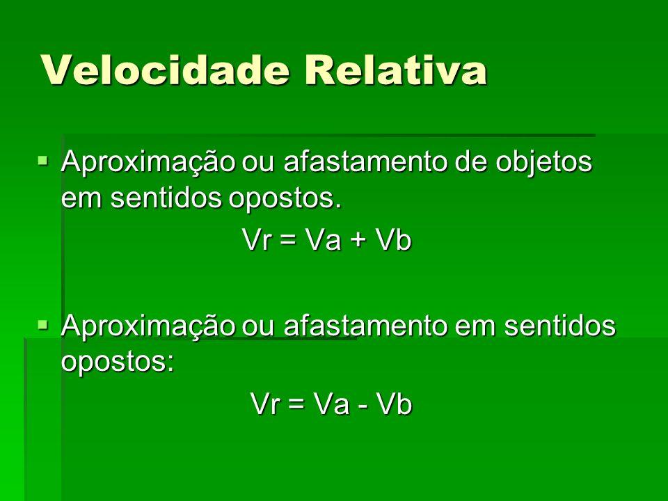 Velocidade Relativa Aproximação ou afastamento de objetos em sentidos opostos. Vr = Va + Vb. Aproximação ou afastamento em sentidos opostos: