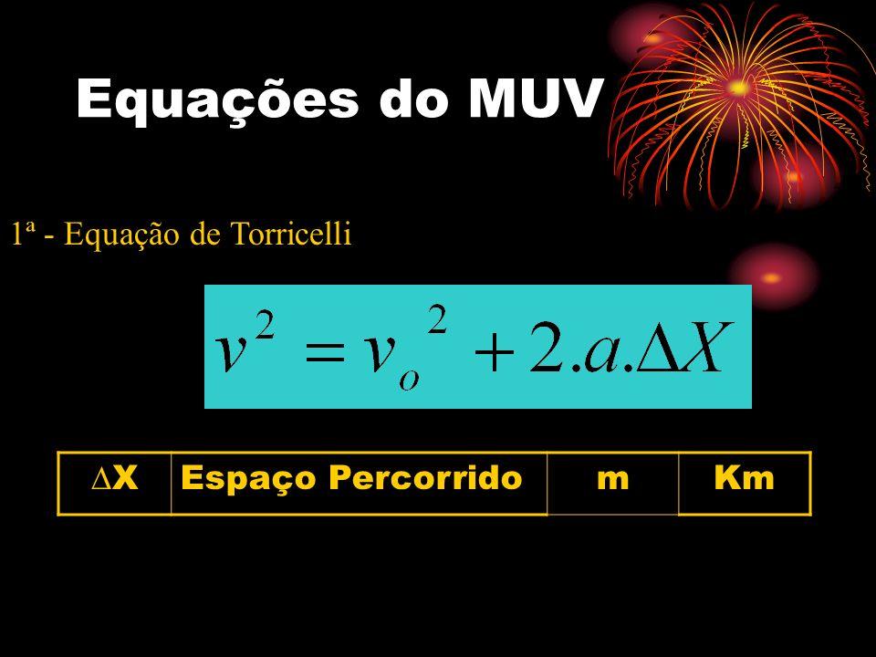 Equações do MUV 1ª - Equação de Torricelli X Espaço Percorrido m Km