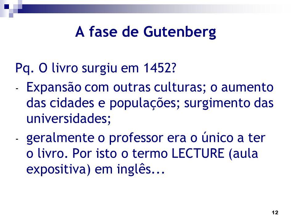A fase de Gutenberg Pq. O livro surgiu em 1452