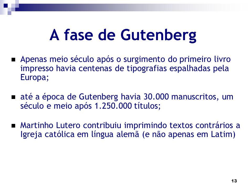 A fase de Gutenberg Apenas meio século após o surgimento do primeiro livro impresso havia centenas de tipografias espalhadas pela Europa;