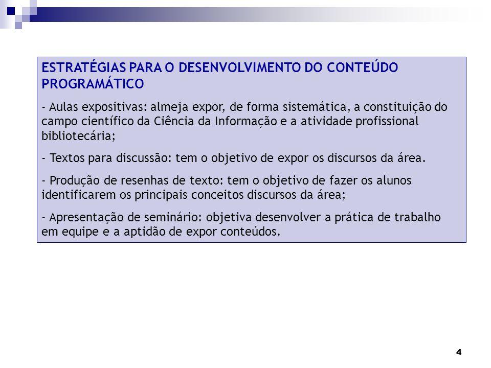 ESTRATÉGIAS PARA O DESENVOLVIMENTO DO CONTEÚDO PROGRAMÁTICO