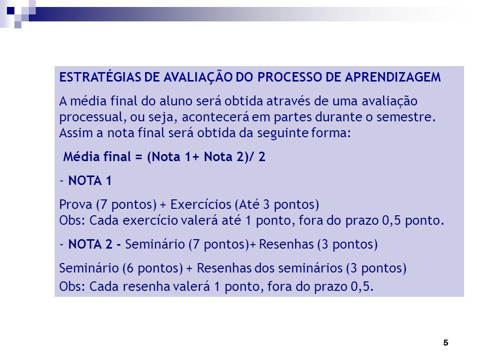 ESTRATÉGIAS DE AVALIAÇÃO DO PROCESSO DE APRENDIZAGEM